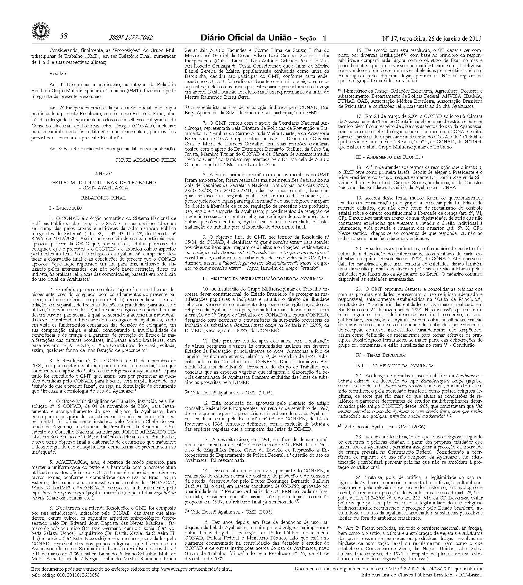 Legalidade do Uso da Ayahuasca